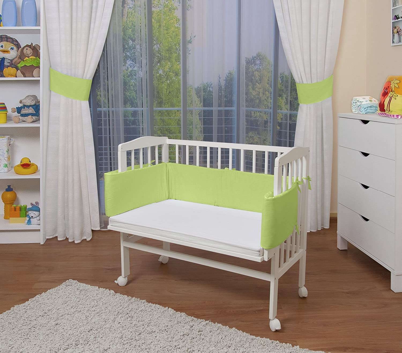 cuna para beb/é WALDIN Cuna colecho para beb/é lacado en blanco,color textil rosa con protector y colch/ón