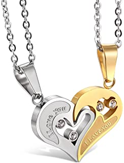 eb5690eb67 Jstyle Stainless Steel Mens Womens Couple Necklace Friendship Puzzle CZ Love  Matching Heart Pendants