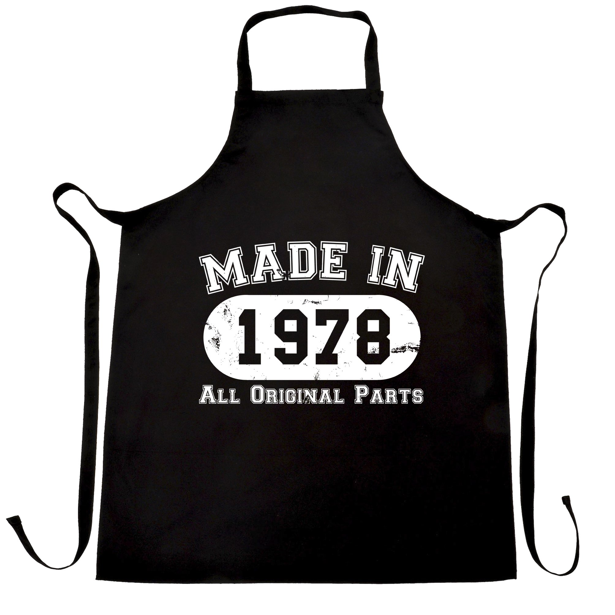 40th Birthday Apron Cook Made in 1978 Distressed Fortieth All Original Parts Black One Size