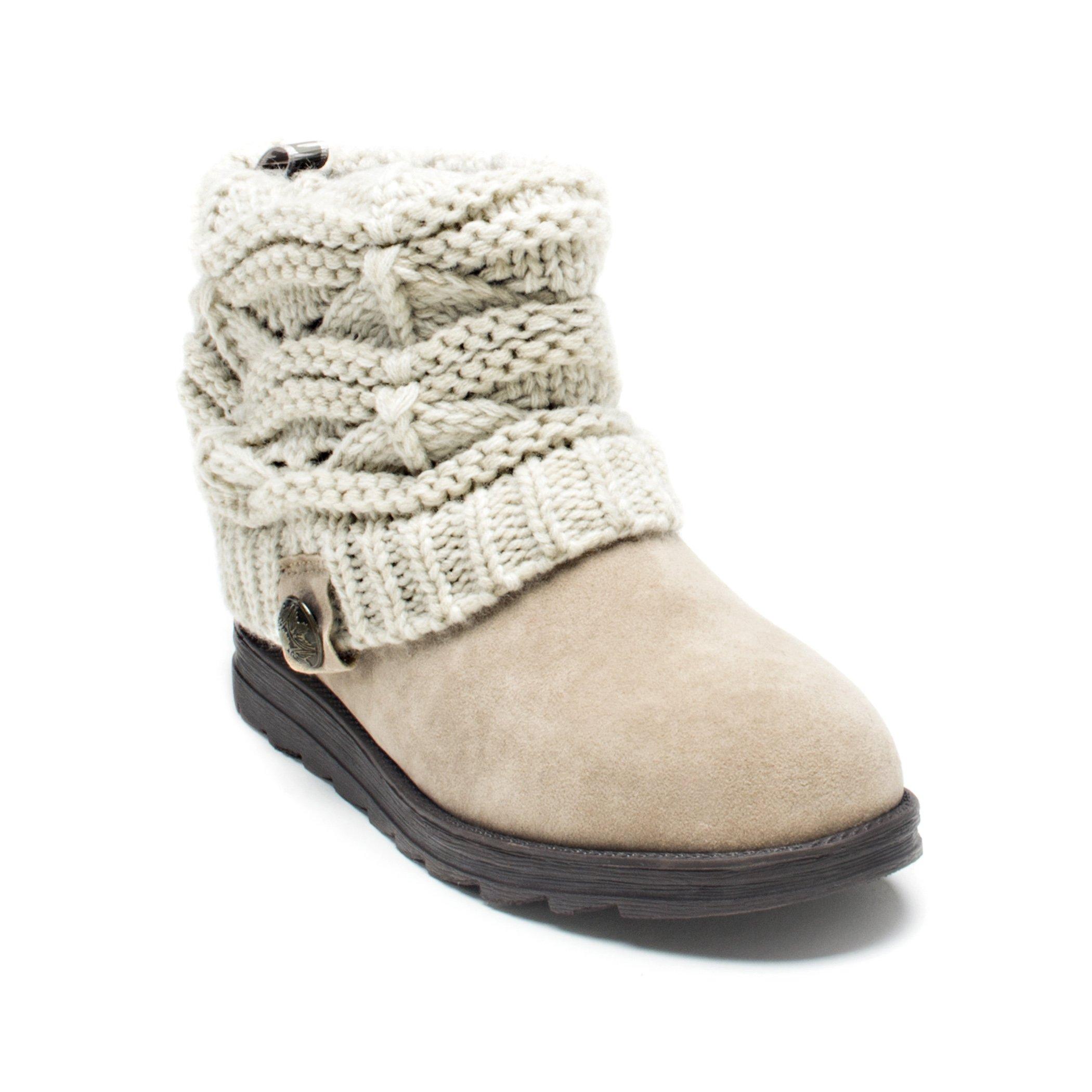 MUK LUKS Women's Patti Crochette Boot, Beige, 8 M US