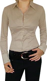 5a11e5d669 Fashion Collection Stilvolle Baumwolle Blusenbody,Business-Bluse ,Schwarz/Weiß/Beige,