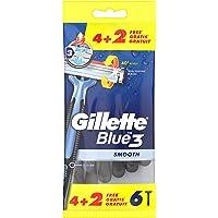 Gillette Blue3 Smooth Wegwerpmesjes Voor Mannen x6, Scheermesje Met 3 Mesjes, 40° Draaiende Scheerkop, Lubrastrip Met…