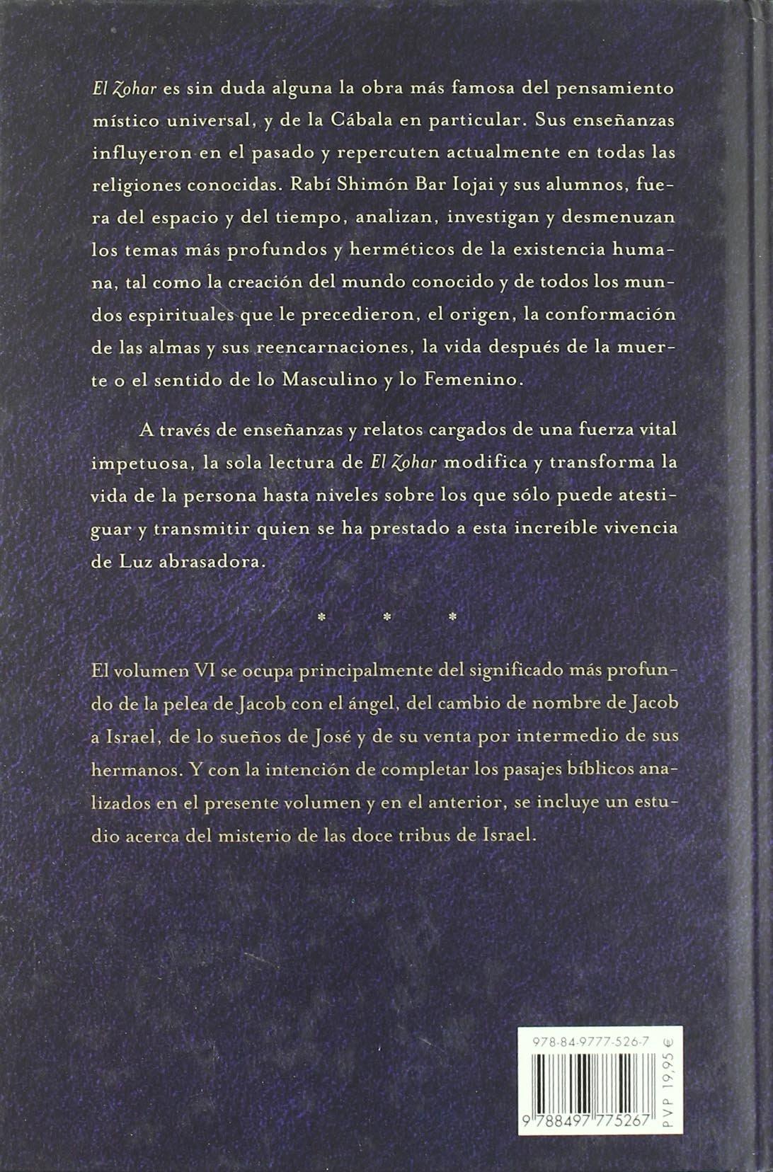 El Zohar, Vol. 6 (Spanish Edition): Bar Iojar, Rabi Shimon: 9788497775267: Amazon.com: Books