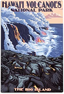 product image for The Big Island, Hawaii, Lava Flow Scene (12x18 Aluminum Wall Sign, Wall Decor Ready to Hang)