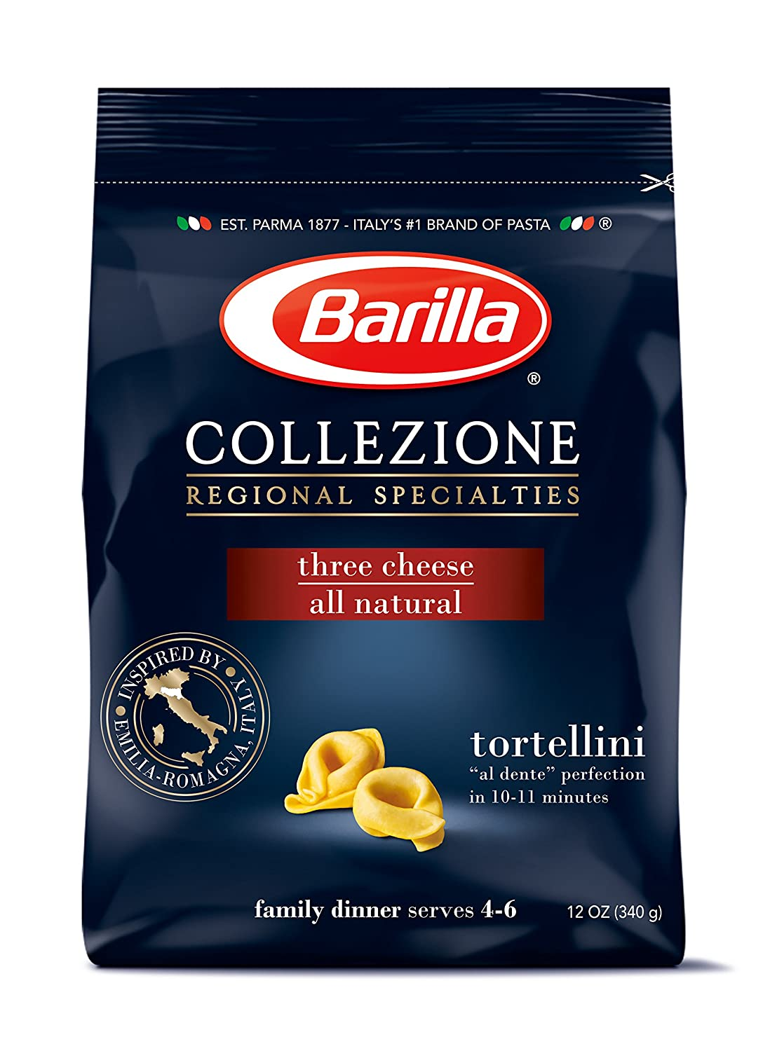 Barilla Collezione Pasta, Three Cheese Tortellini, 12 Ounce (Pack of