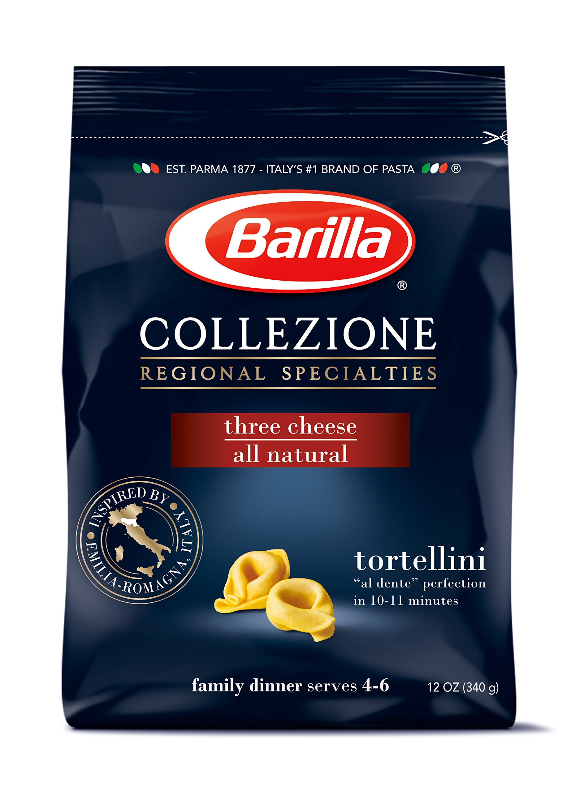 Barilla Collezione Pasta, Three Cheese Tortellini, 12 Ounce (Pack of 4)