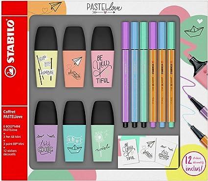 Stabilo f49716 Boss Mini – estuche de 6 rotuladores fluorescentes pastellove con 3 rotuladores Pen 68 Mini con 3 punta superfina Point 88 Mini con 12 pegatinas: Amazon.es: Oficina y papelería
