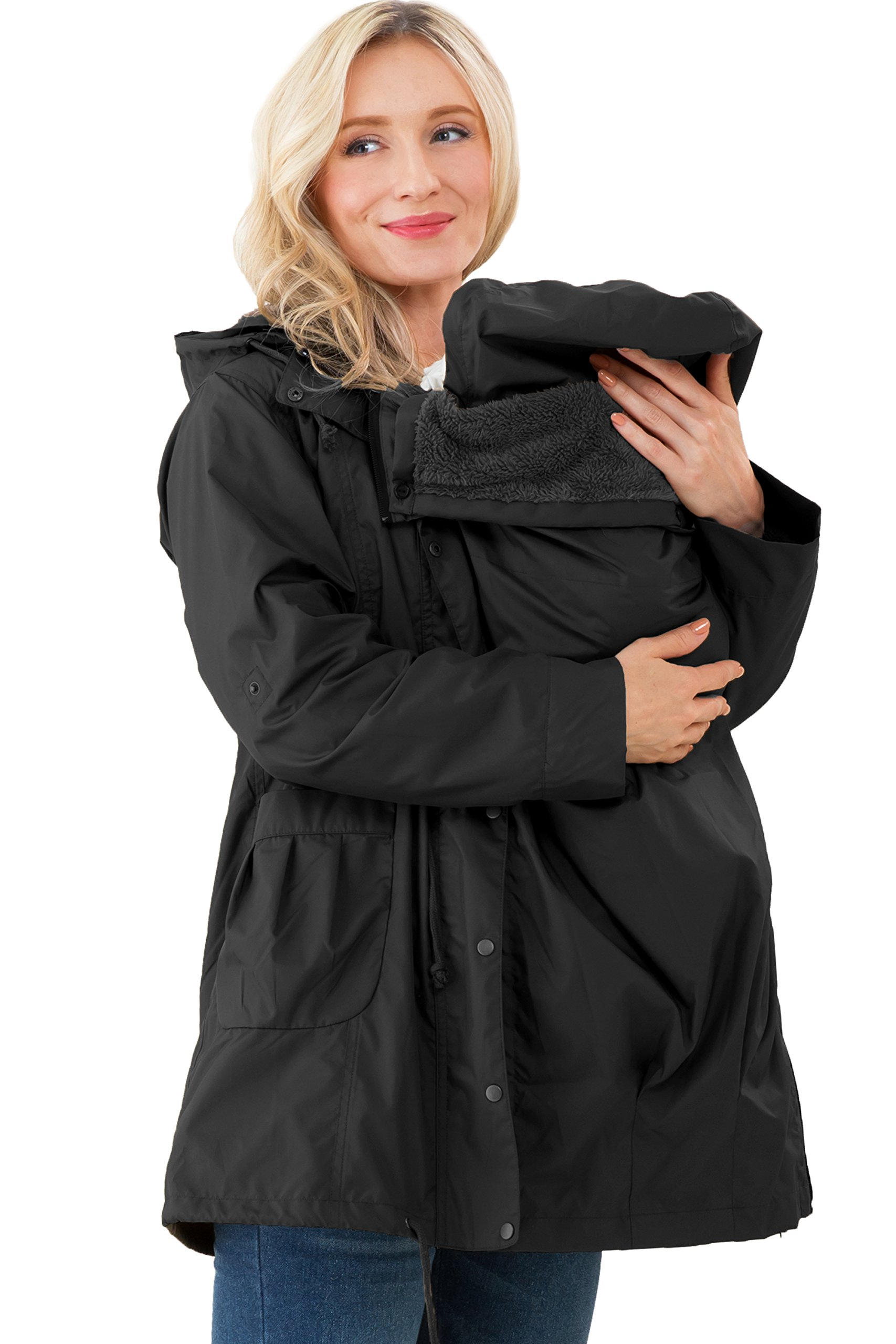 Sweet Mommy Multifunctional Mod's Style Mama Coat with a Baby Pouch Black, M by Sweet Mommy