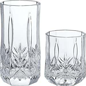 AmazonBasics Briercrest 16-Piece Old Fashioned and Coolers Glass Drinkware Set
