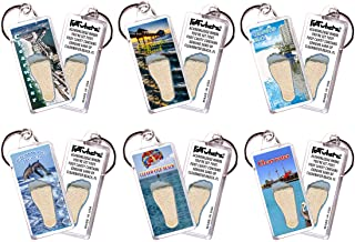 product image for Clearwater, FL FootWhere Keychains. 6 Piece Set. Authentic Destination Souvenir acknowledging Where You've Set Foot. Genuine Soil of Featured Location encased Inside Foot Cavity. Made in USA