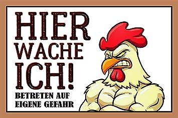 ComCard Hier Wache Ich Huhn Lustig Hinweis Schild Auch Blech, Metal ...