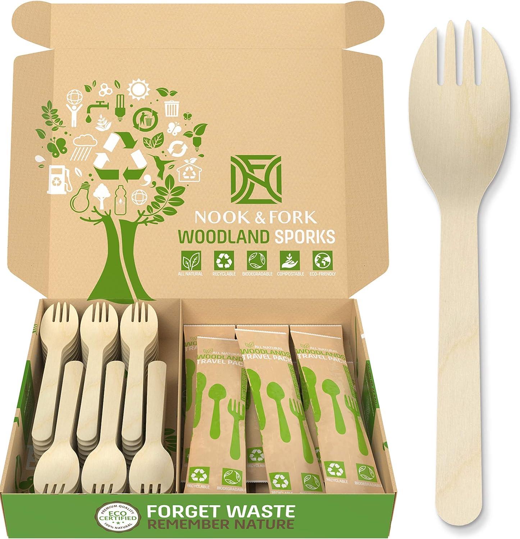 Gmark 4 Mini Wooden Spork 200 ct GM1058 200pcs//bag Biodegradable Compostable Birchwood Fork Spoon 2-in-1 Utensil