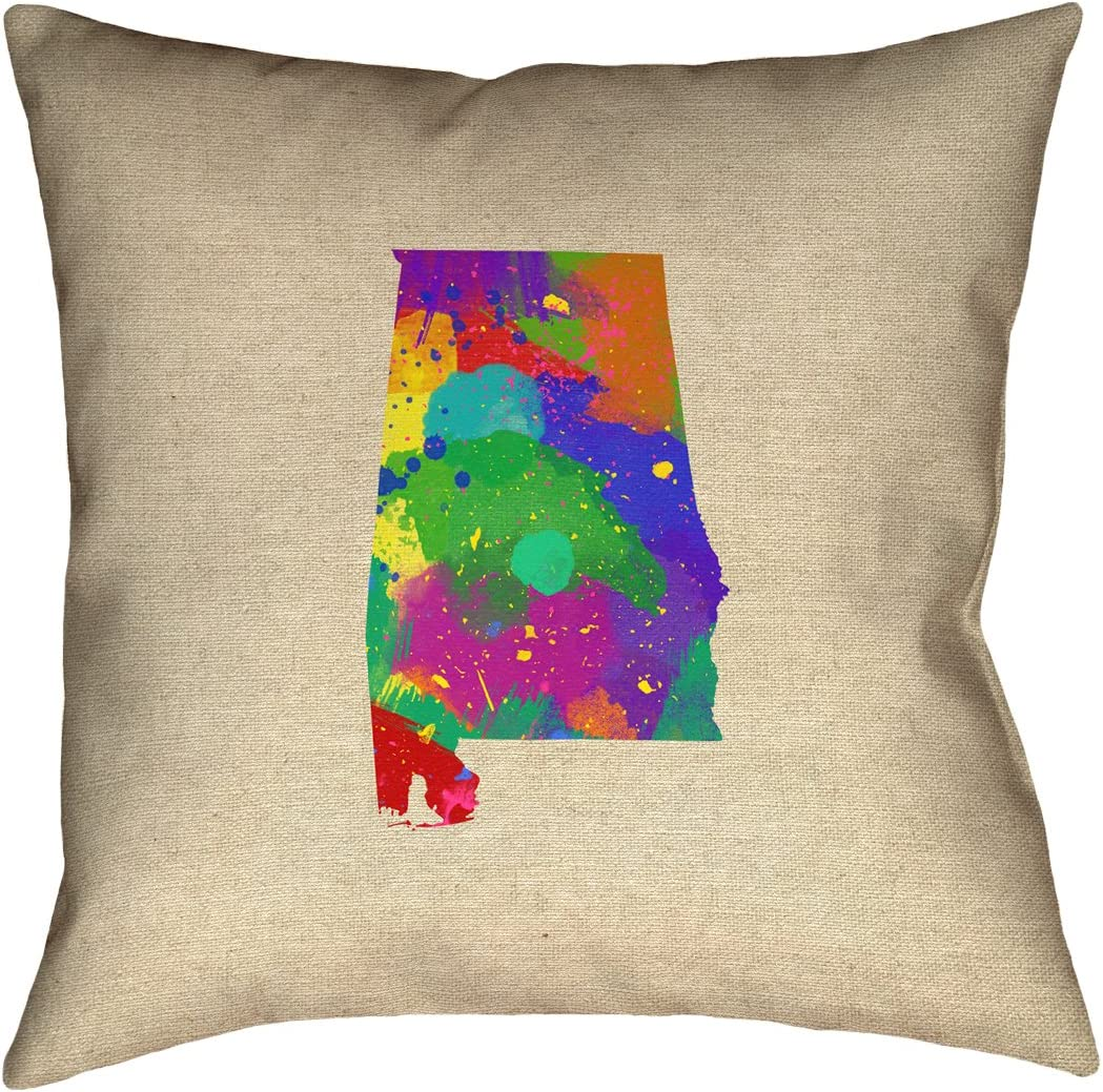 ArtVerse Alabama Watercolor Pillow 20 x 20