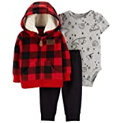 Carter's Baby Boys` 3-Piece Little Jacket Set, Red Plaid, 3 Months