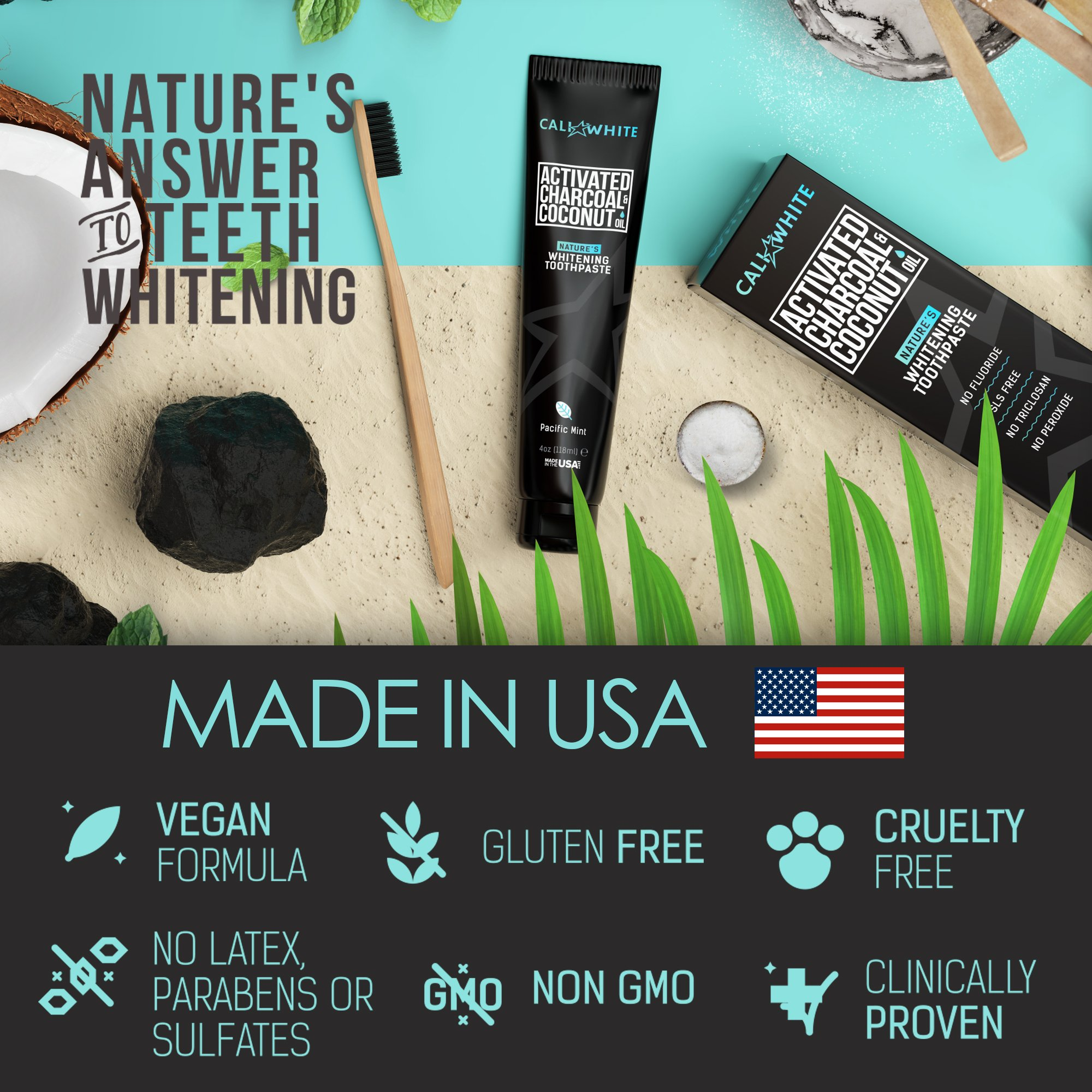 Cali White ACTIVATED CHARCOAL & ORGANIC COCONUT OIL TEETH WHITENING TOOTHPASTE, MADE IN USA, Best Natural Whitener, Vegan, Fluoride Free, Sulfate Free, Organic, Black Tooth Paste, Kids MINT (4oz) by Cali White (Image #2)