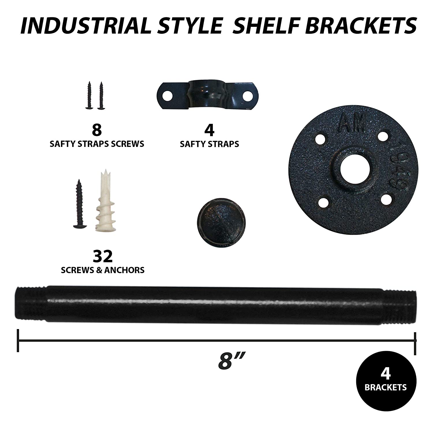 Pipe Brackets for Shelving for Your Farmhouse Rustic Decor Industrial Pipe Shelving PipeDekor Shelf Brackets 8 Inch Iron Pipe Brackets for Shelving Industrial Pipe Shelf Brackets with Heavy Duty Screws