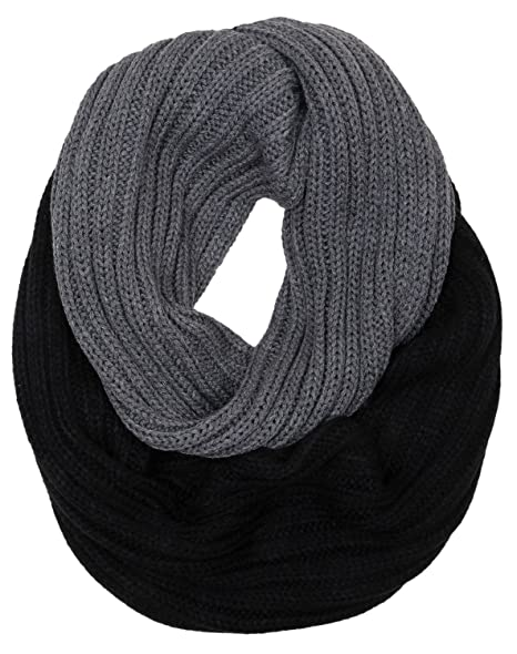 4aa2513e1d0cca Funky Junque's C.C Ribbed Knit Warm Fashion Scarf Multicolored Infinity  Scarf