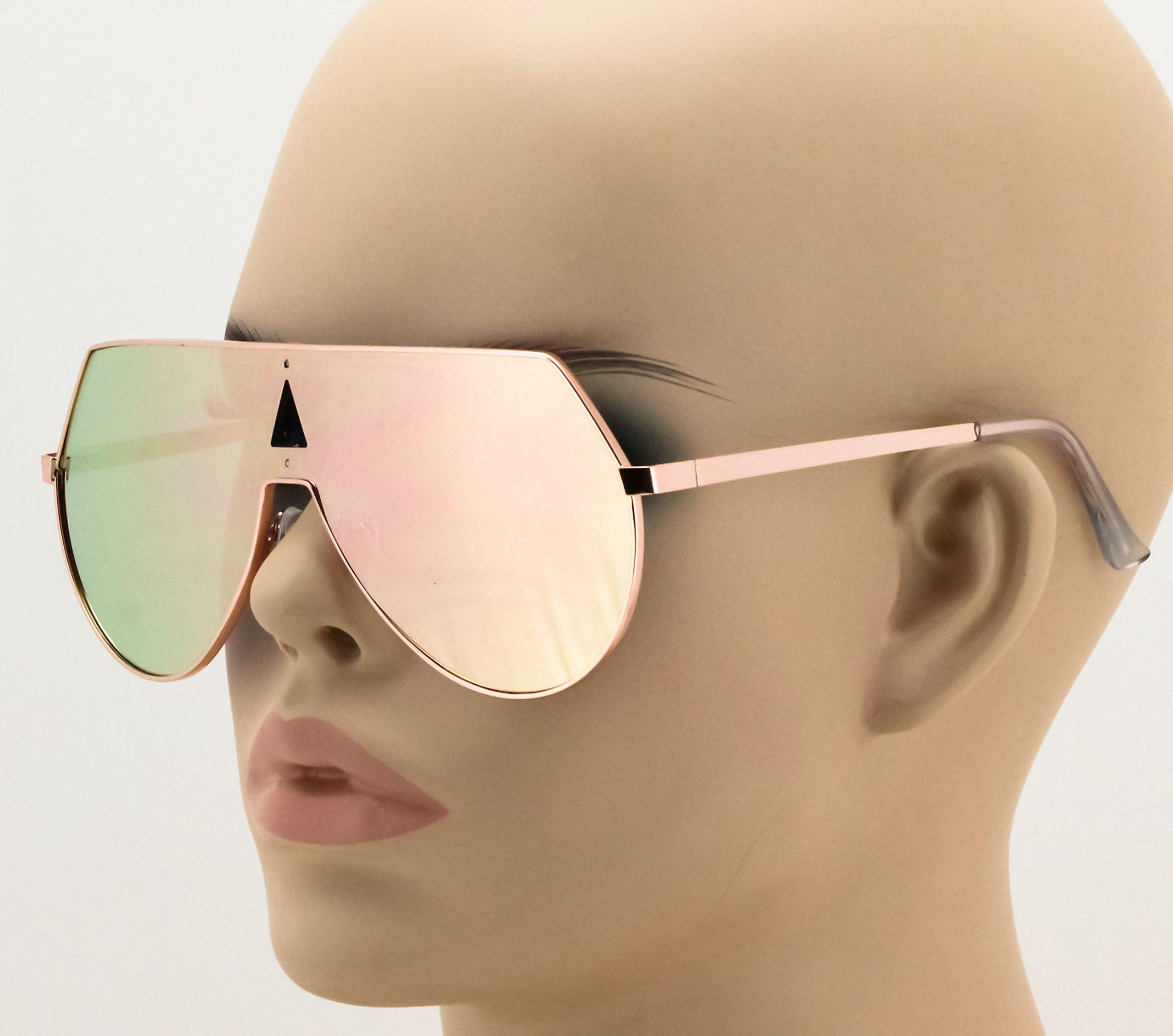 Elite Oversize Unisex Flat Top Aviator Retro Shield Mirrored Lens Rimless Sunglasses (Rose Pink Mirror, 5.8) by EliteGlasses (Image #2)