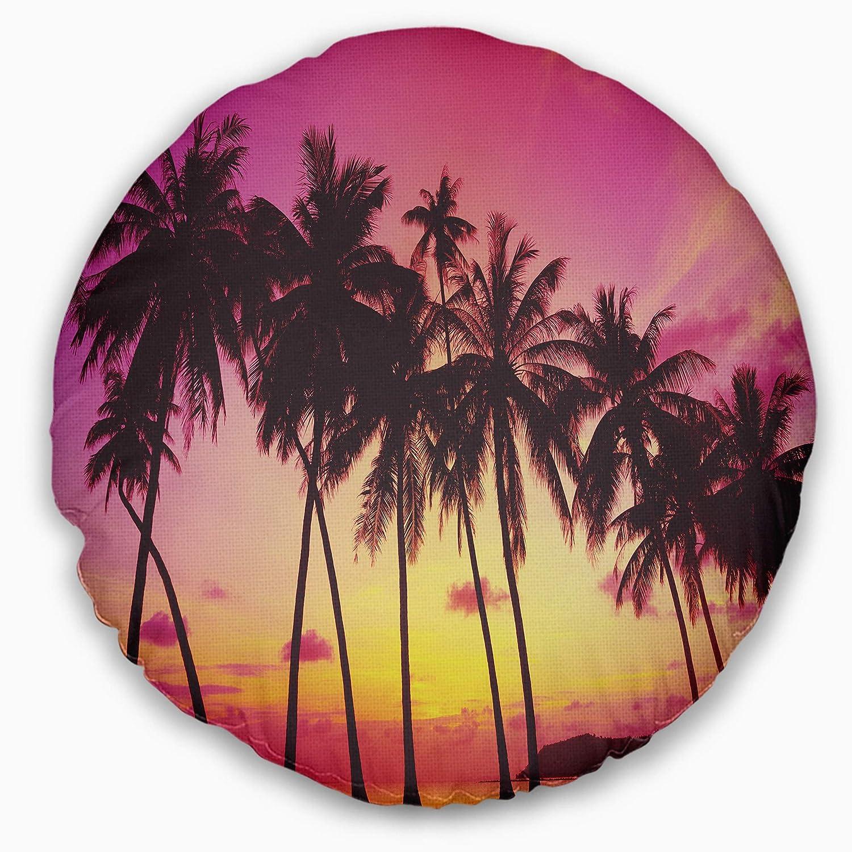 Designart CU10832-20-20-C Row of Beautiful Palms Under Magenta Sky' Landscape Printed Round Cushion Cover for Living Room, Sofa Throw Pillow 20'