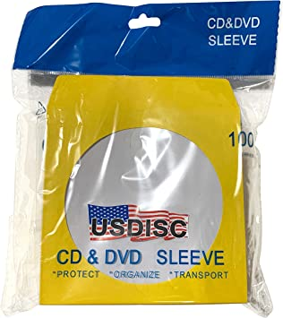 White Flap Pack of 1000 USDISC Paper Sleeves 100g Window