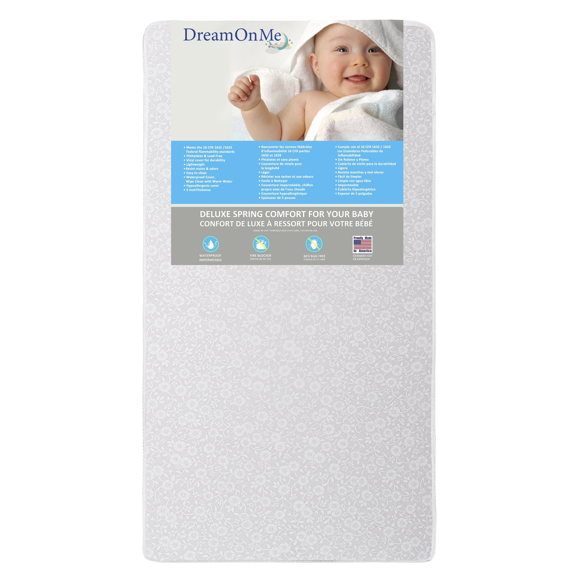 Dream On Me Full Size Firm Foam Crib and Toddler Bed Mattress, Little Baby, 6''