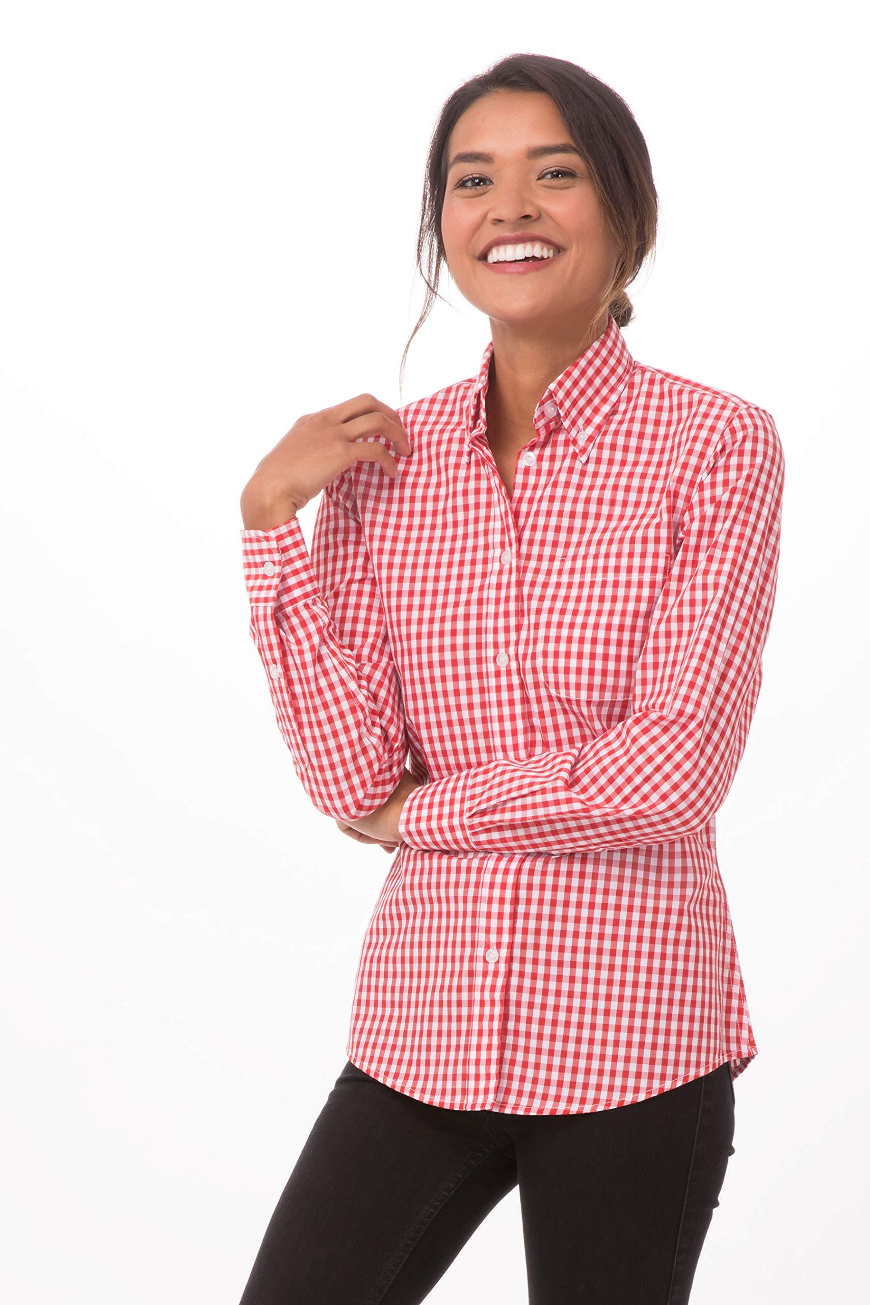 Chef Works Women's Medium Gingham Dress Shirt, Red & White Check, Medium by Chef Works