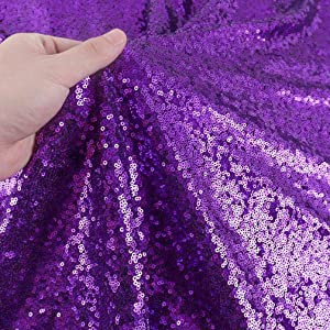 Sequin Fabric Glitter Fabric 1 Yard Sequin Fabric by The Yard Sparkly Fabric Little Mermaid Fabric Outdoor Glitter Fabric Sequence Material for Dress Clothing Wedding Home Dec (1 Yard, Purple)