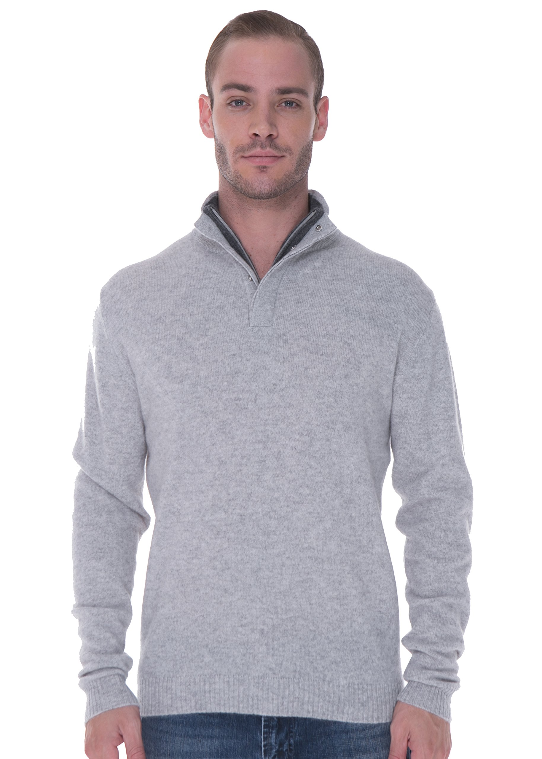 LEBAC Men's 100% Cashmere Sweater Quarter Zip Pullover With Elbow Patches