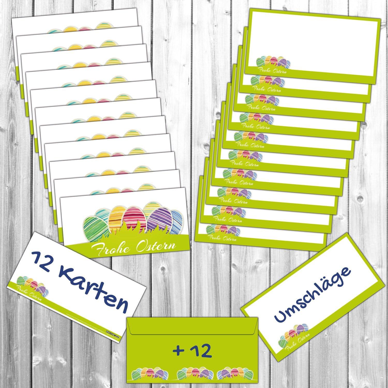 von BREITENWERK/® die modernen Oster-Gru/ßkarten sind ideal als Brief oder Postkarte und als Beilage zum Geschenk 12 Osterkarten FROHE OSTERN im Set