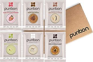 Purition Caja de muestras de batidos de proteínas (6 x 40g). Batido para el desayuno