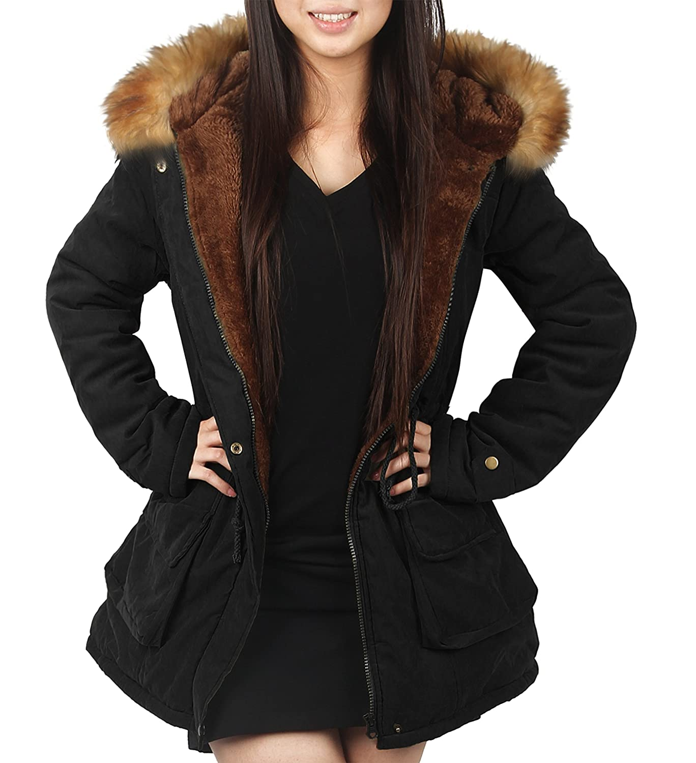 4HOW Womens Parka Jacket Hooded Winter Coats Faux Fur Outdoor Coat Army Green Black