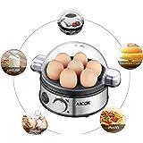 Aicok Egg Cooker, Egg Boiler, Electric Boiled Egg Cooker, Rapid Egg Cooker with 7 Egg Capacity, Stainless Steel Egg Steamer, Timer Knob
