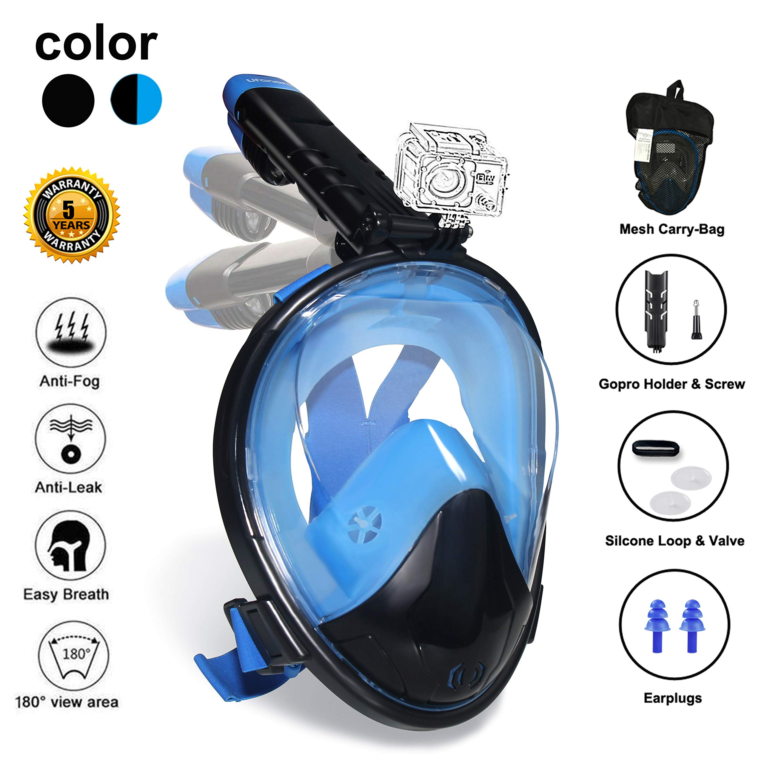Ufanore Full Face Snorkel Mask, Snorkeling Mask Adult with Detachable Camera Mount, Foldable 180° Panoramic View, Free Breathing, Anti-Fog and Anti-Leak by Ufanore