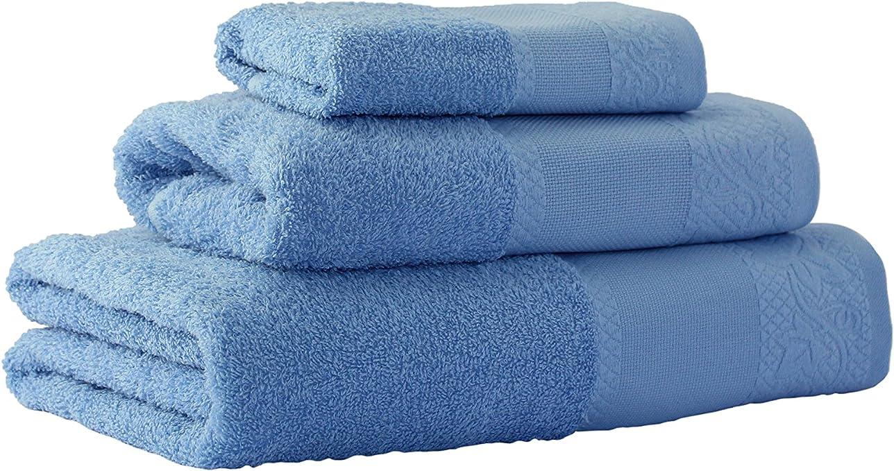 Flor de Algodón Panama Juego de 3 toallas algodón, AZUL, 30x50 ...