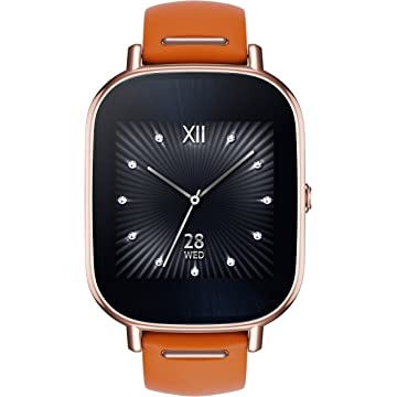 buy ASUS ZenWatch 2 Silver with Beige Leather Strap 37mm Smart Watch with Quick Charge Battery
