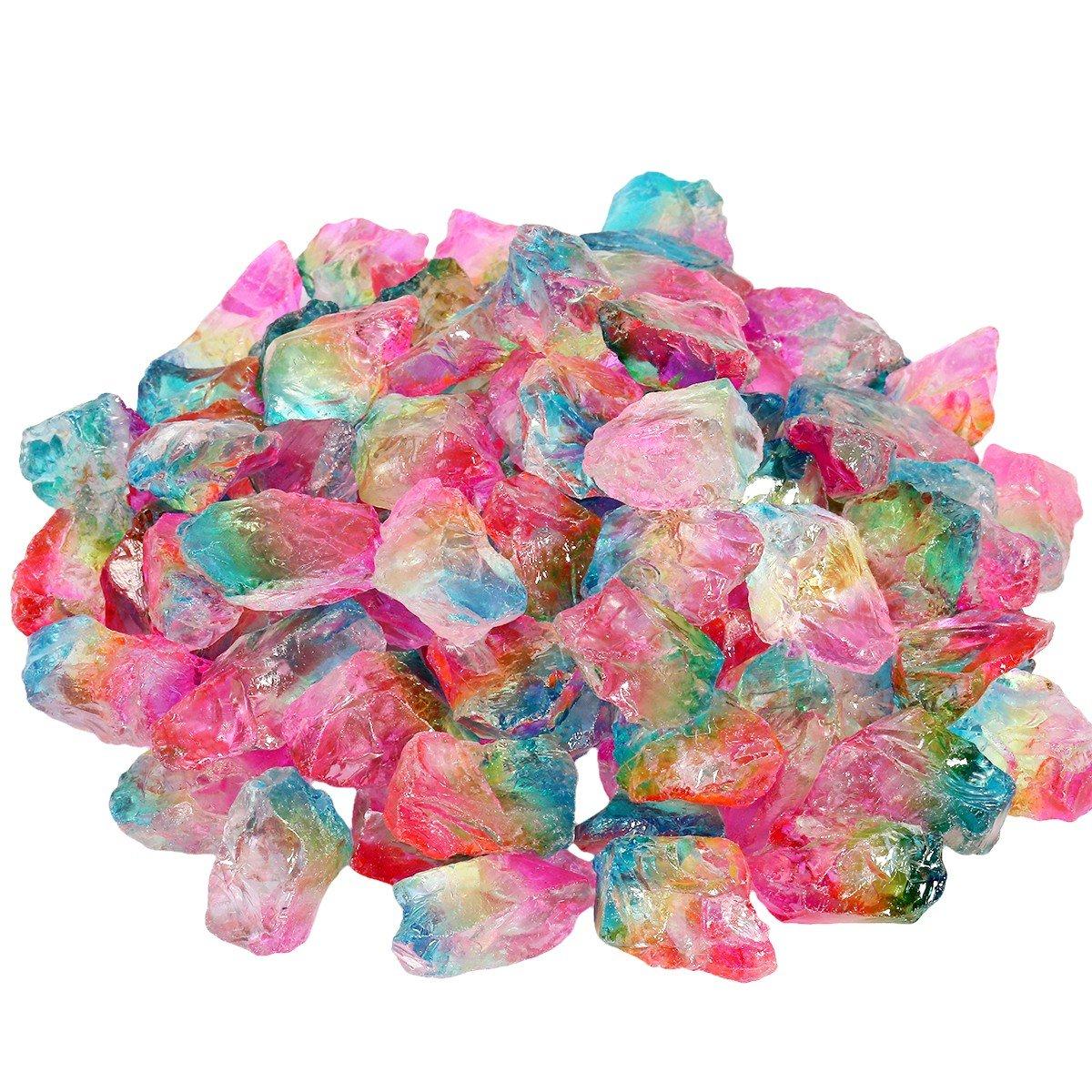 SUNYIK Rainbow Titanium Coated Rough Crystal Point Raw Rock Quartz Cluster Specimen 0.5lb (0.5''-2'')