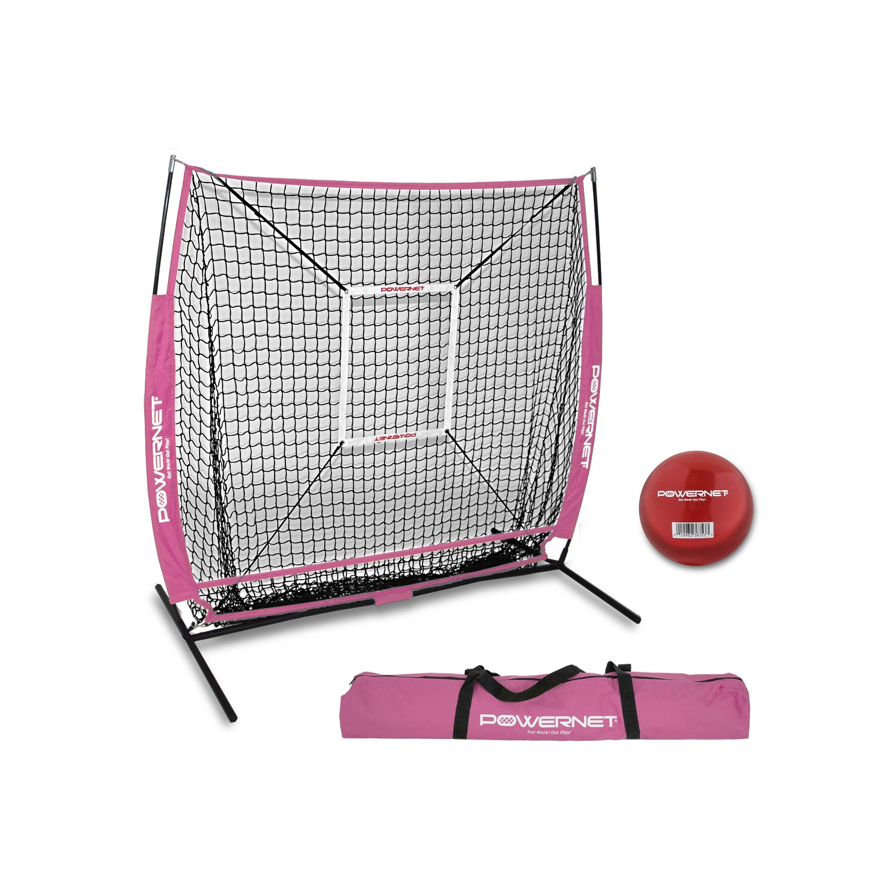 PowerNet Baseball and Softball Practice Net 5 x 5 (Bundle with Strike Zone and Training Ball + (Pink) by PowerNet