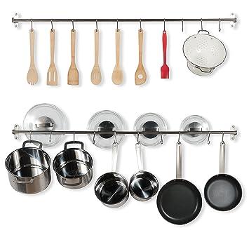 47 pulgadas toallero de barra soporte de pared de cocina de acero inoxidable con tapa de 20 ganchos para ollas sartenes y utensilios Conjunto De 2 plata: ...