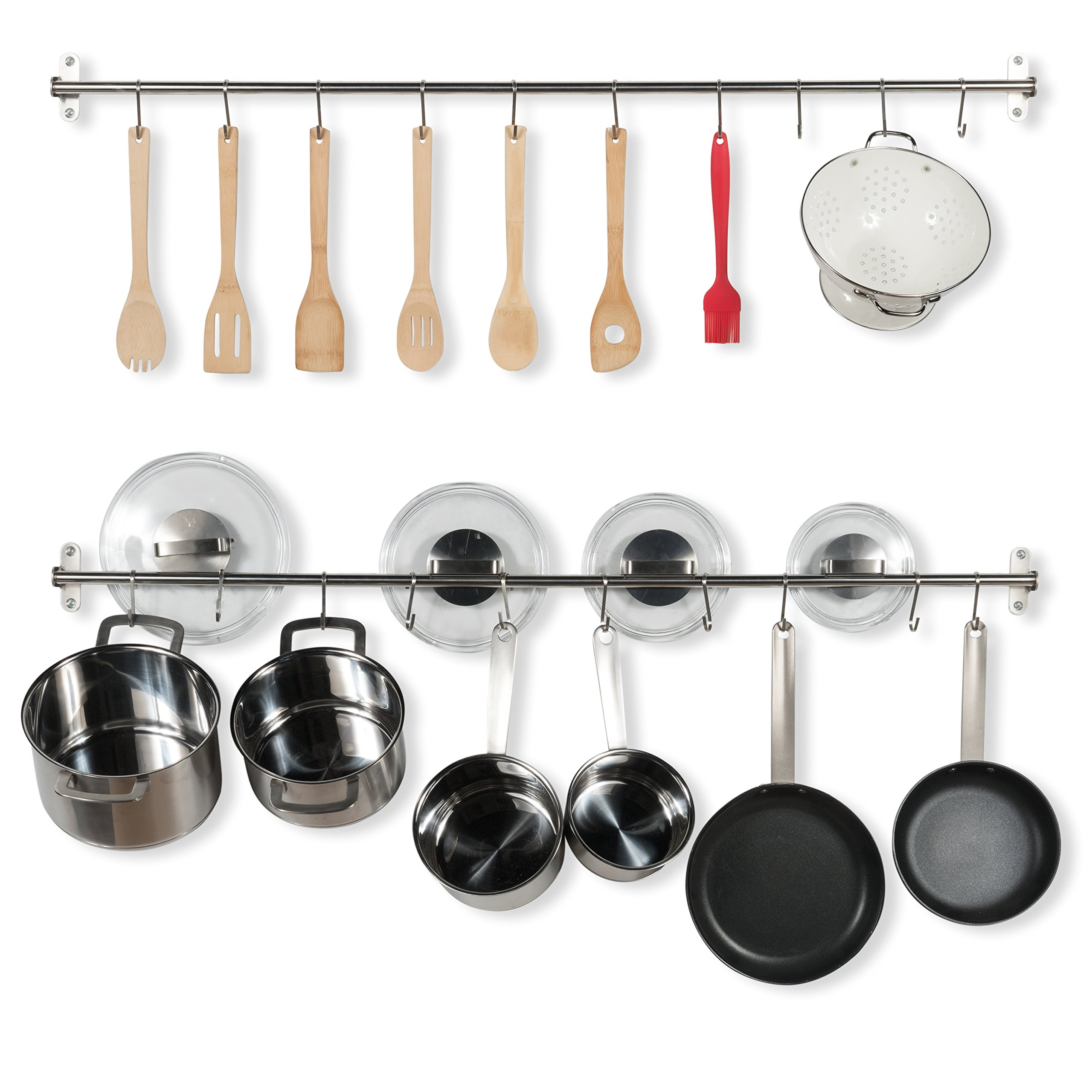 Wallniture Kitchen Wall Mount Rail Towel Bar Rack with Hooks Stainless Steel 47'' Inch Set of 2