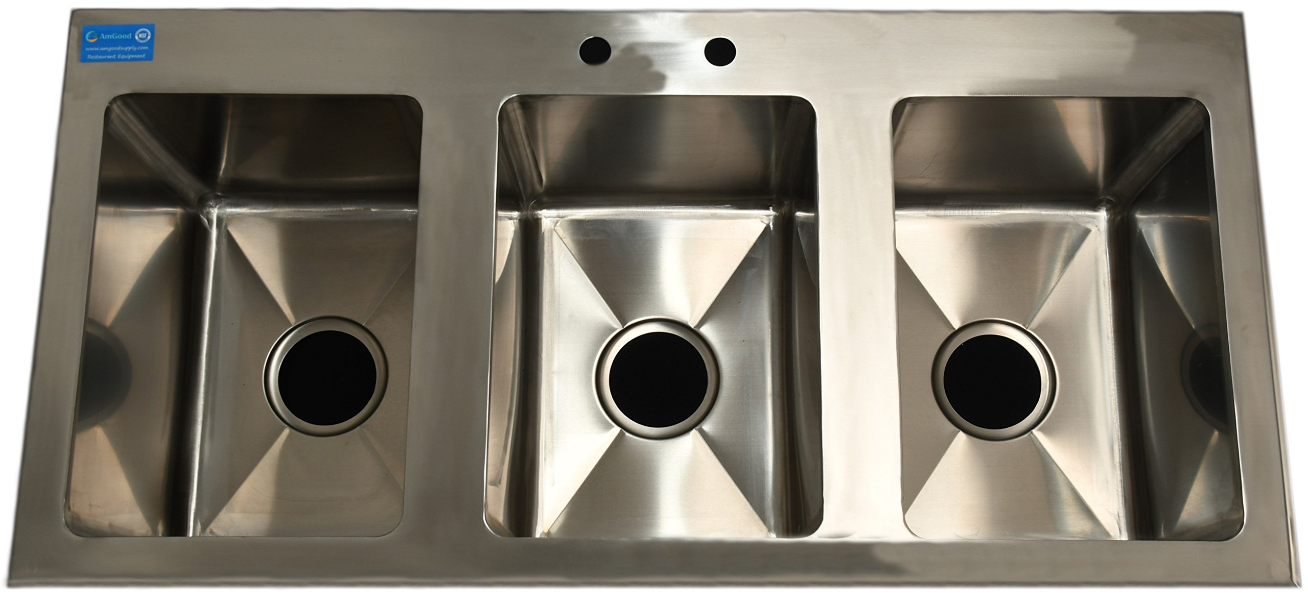 AmGood Stainless Steel Drop Sink - 3 Compartment Drop In Sink 10''x14''x10'' NSF Certified (10'' x 14'' x 10'' Sink)