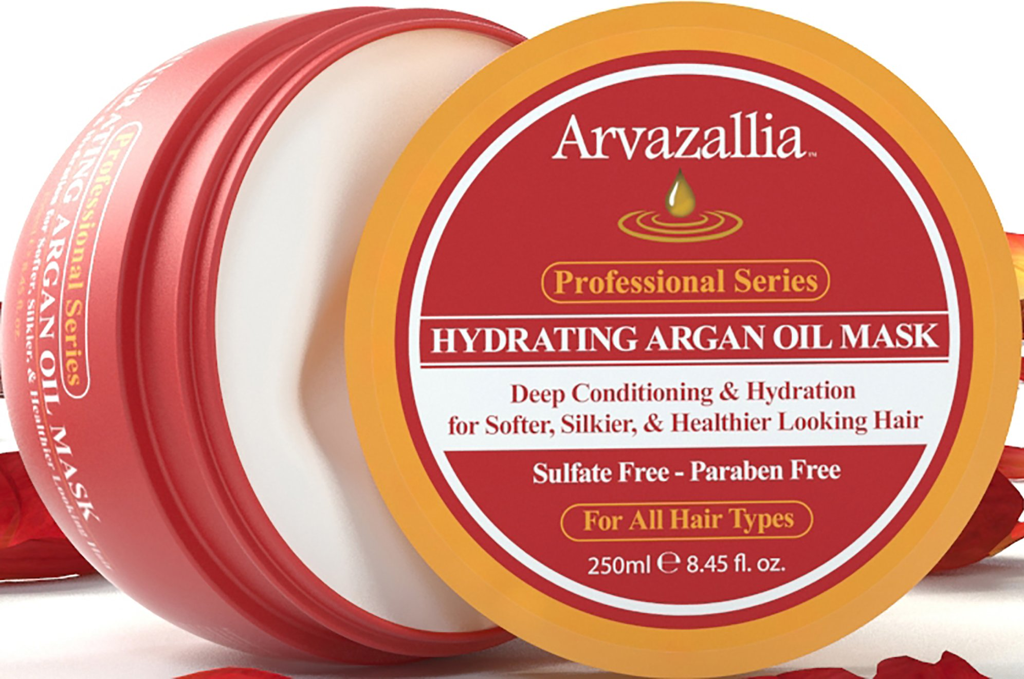 Hydrating Argan Oil Hair Mask and Deep Conditioner By Arvazallia for Dry or Damaged Hair - 8.45 Oz by Arvazallia (Image #2)