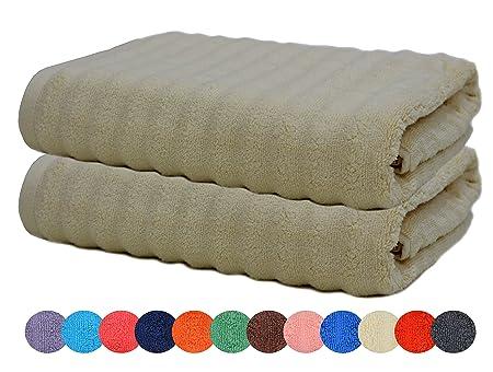 sweetneedle  Sweet Needle - Pack of 2 - Zero Twist Bumpy Ribbed Bath Towel 76 x ...