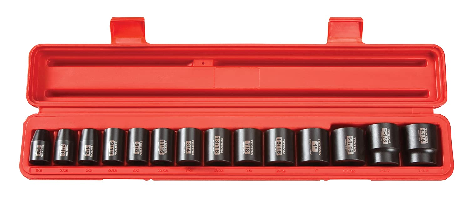 3//8-Inch Cr-V 1-1//4-Inch TEKTON 4816 1//2-Inch Drive Shallow Impact Socket Set 14-Sockets 6-Point Inch