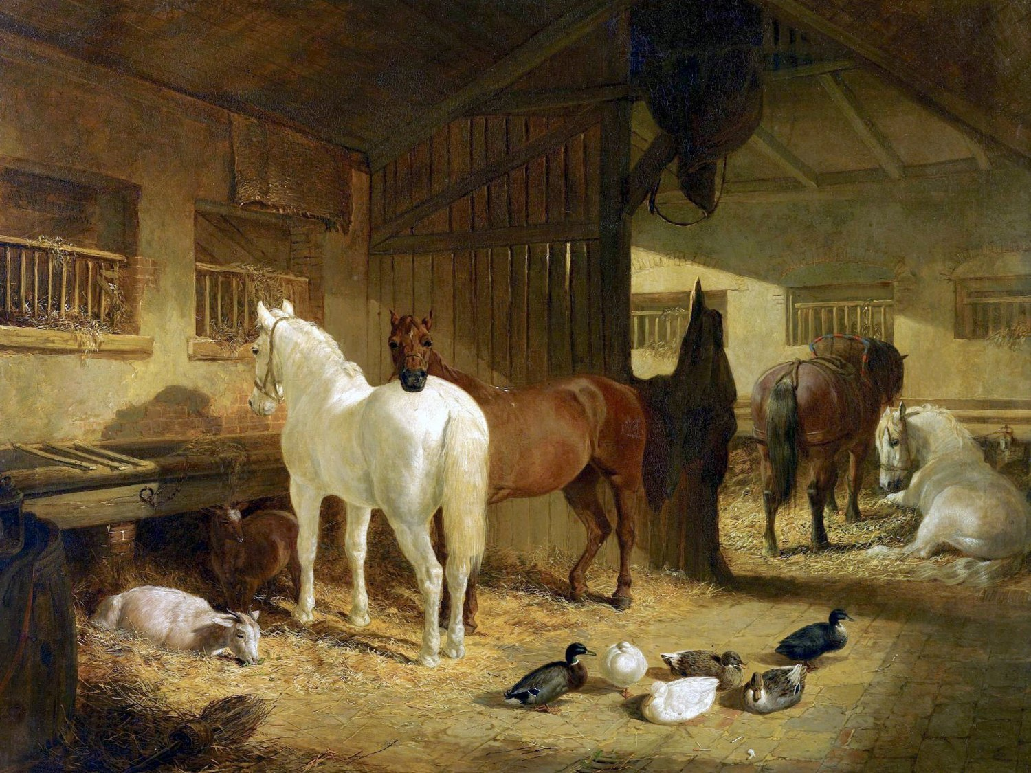 Four horses in a barn tile mural kitchen bathroom wall backsplash four horses in a barn tile mural kitchen dailygadgetfo Image collections