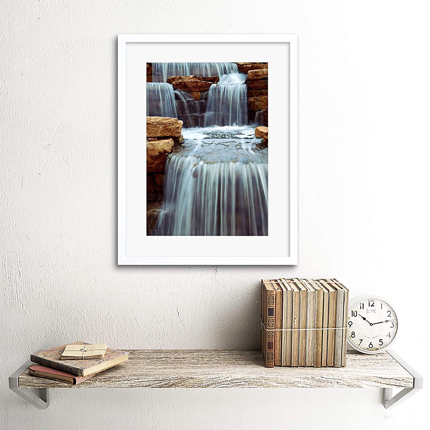 CASCADING WATERFALL OVER NATURAL ROCKS HOME BLACK FRAMED ART PRINT B12X9483