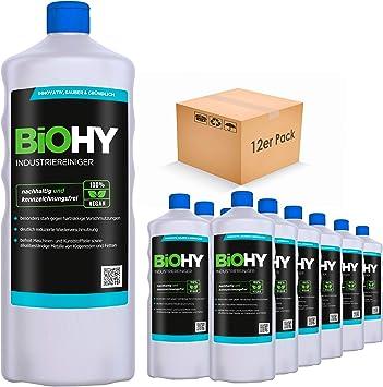BiOHY Limpiador industrial (12 botellas de 1 litro) | baja espuma antisuciedad elimina grasas y aceites en todas las superficies resistentes al agua (Industriereiniger): Amazon.es: Salud y cuidado personal