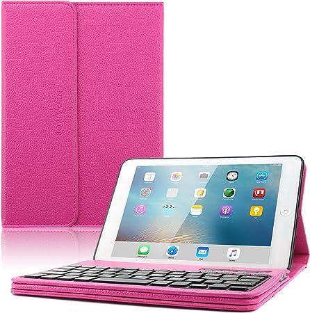 BORIYUAN iPad Mini Caja del Teclado, Funda iPad Mini Smart Cover Funda de Piel con función Atril para Apple iPad Mini 1/Mini 2/Mini 3 Rojo Rose Red