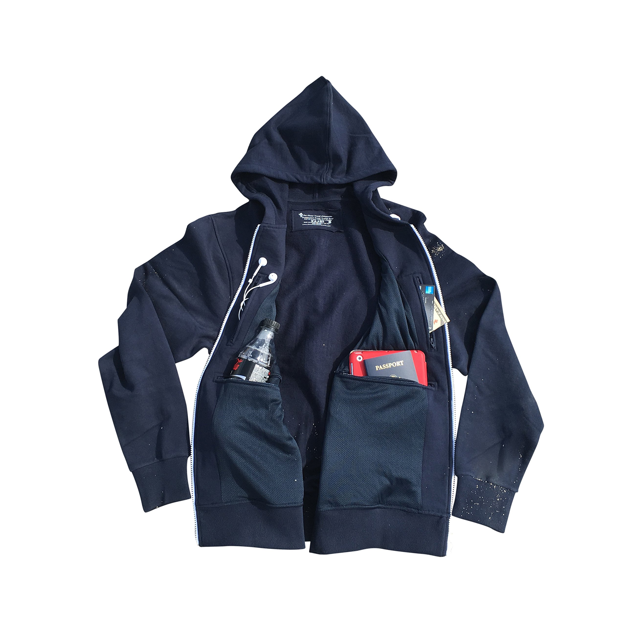 Smart Travel Hoodie with Multiple Concealed Secret Pockets (Large) by Clever Travel Companion