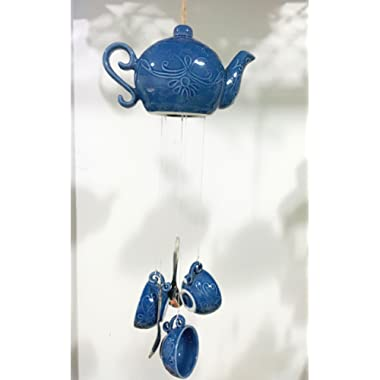 Pretty Home Porcelain Teapot Tea cup Wind chime , Indoor / Outdoor Decoration (Navy)