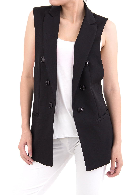 ELLAZHU Women Baggy Sleeveless Turndown Collar Long Suit Vest CZ84 ...